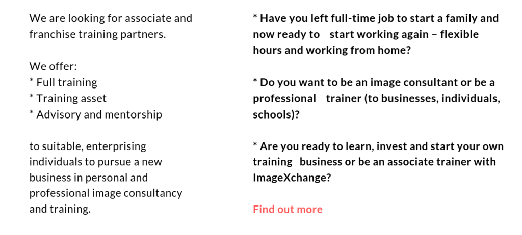 ImageXchange - How to be an Image Consultant Training Course and certification. A new career or start a business? Flexible working hours, rewarding and well-paid? Helping and inspiring others to look good and feel good?